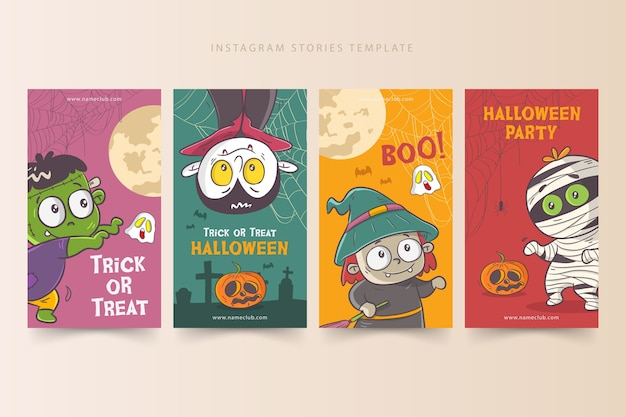 Modelo de histórias de halloween no instagram Vetor Premium