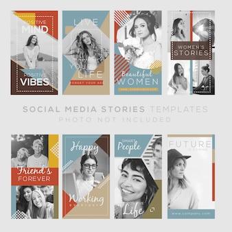 Modelo de histórias de instagram com citações e projeto vintage. arquivo editável