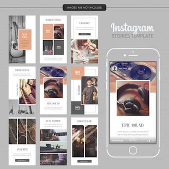 Modelo de histórias de instagram de instrumento musical