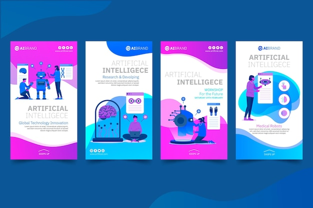 Modelo de histórias de instagram de inteligência artificial
