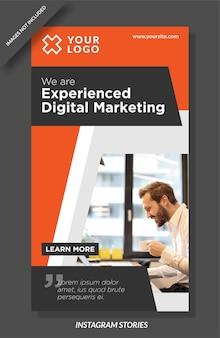 Modelo de histórias de instagram de marketing digital