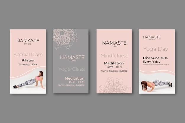 Modelo de histórias de instagram de meditação e atenção plena