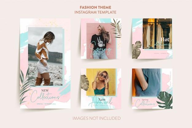 Modelo de histórias de instagram de moda mulher com folhas tropicais