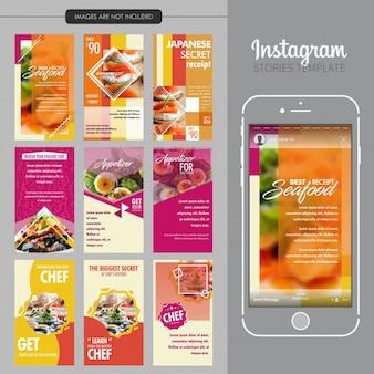 Modelo de histórias de instagram de restaurante de comida