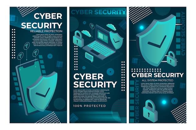 Modelo de histórias de instagram de segurança cibernética