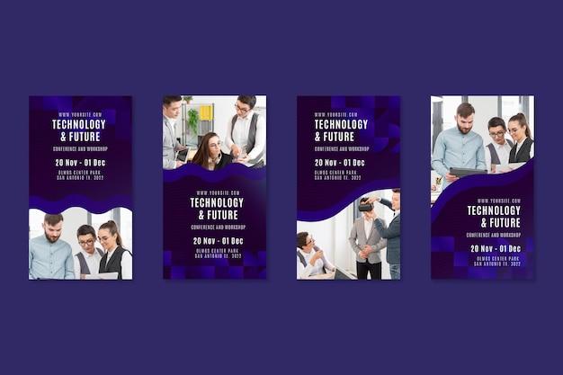 Modelo de histórias de instagram de tecnologia e negócios futuros