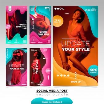 Modelo de histórias de instagram de venda de moda