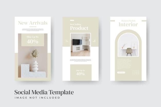 Modelo de histórias de instagram para venda de interiores de móveis