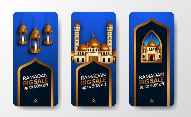 Modelo de histórias de mídia social da grande liquidação do ramadan kareem com decoração de porta de mesquita de luxo dourado com fundo azul