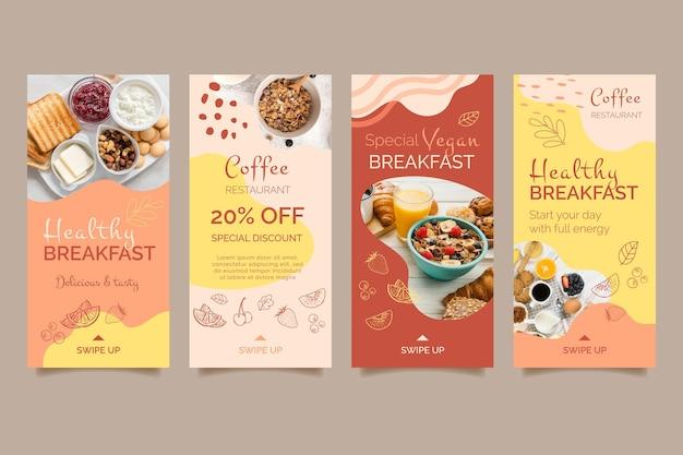 Modelo de histórias de mídia social de café da manhã saudável