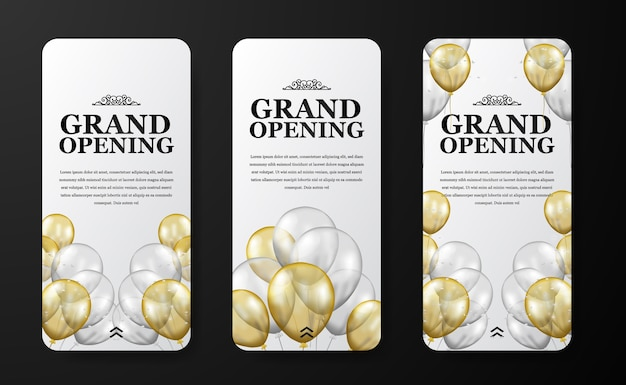 Modelo de histórias de mídia social de evento de inauguração ou reabertura de luxo elegante para marketing de anúncio com balão dourado e prata transparente voador com confete e fundo branco