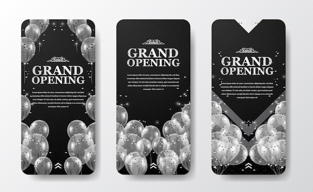 Modelo de histórias de mídia social de evento de inauguração ou reabertura de luxo elegante para marketing de anúncio com balão prateado transparente voador com confete e fundo escuro