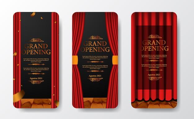Modelo de histórias de mídia social de grande inauguração elegante e luxuoso com cortina vermelha no palco com confete dourado e fundo escuro