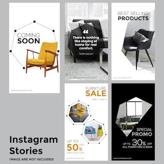 Modelo de histórias de mídia social de móveis