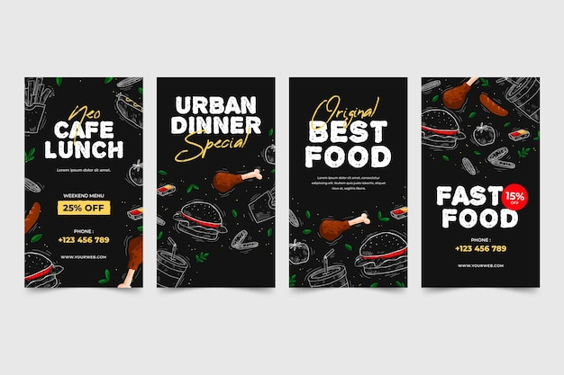 Modelo de histórias de mídia social de restaurante