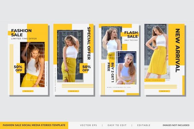 Modelo de histórias de mídia social de venda de moda