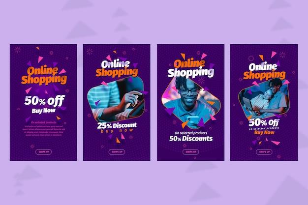 Modelo de histórias de mídia social para compras online