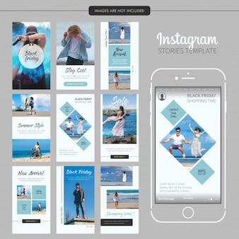 Modelo de histórias de moda azul do instagram