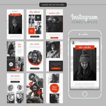 Modelo de histórias de moda de laranja preto instagram