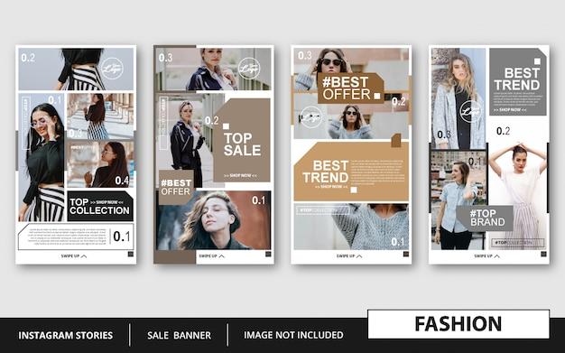 Modelo de histórias de moda estilo minimalista