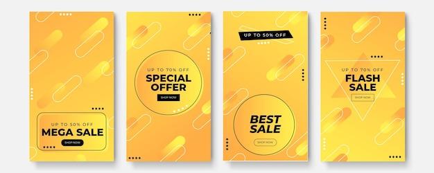 Modelo de histórias definido para venda de banner, apresentação, folheto, cartaz, convite. pano de fundo da tela para aplicativo móvel. maquete da história do instagram.