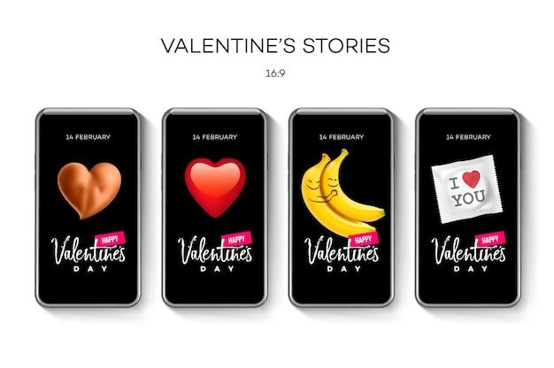 Modelo de histórias do dia dos namorados, ilustração vetorial.