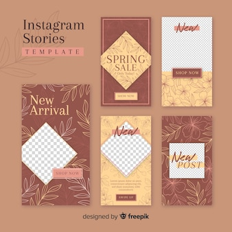 Modelo de histórias do instagram com moldura vazia