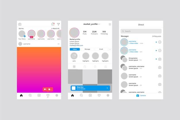 Modelo de histórias do instagram da interface