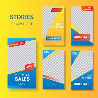 Modelo de histórias do instagram de 5 conjuntos