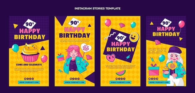 Modelo de histórias do instagram de aniversário dos anos 90 desenhado à mão