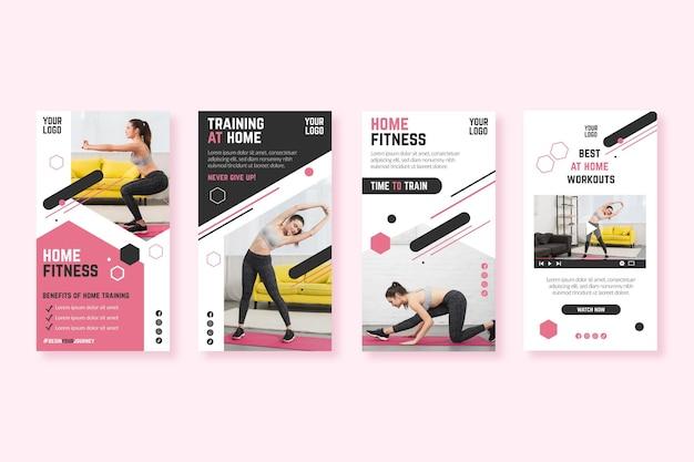 Modelo de histórias do instagram de fitness em casa