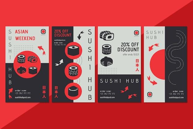 Modelo de histórias do instagram de hub de sushi