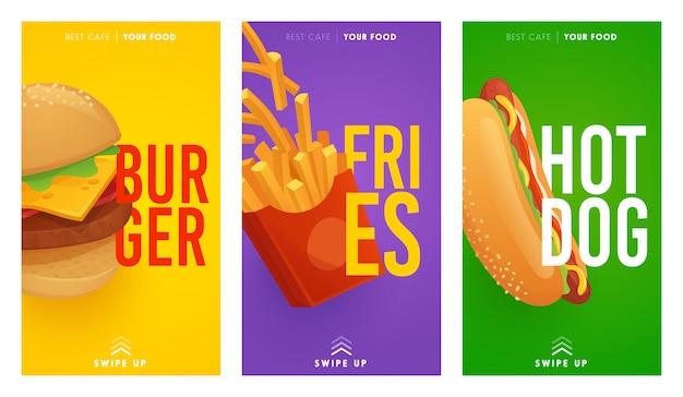 Modelo de histórias do instagram de mídias sociais de fast food