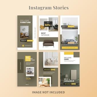 Modelo de histórias do instagram de móveis minimalistas