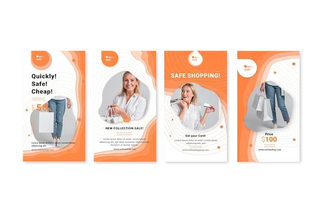 Modelo de histórias do instagram de serviço de compras online
