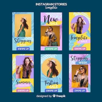 Modelo de histórias do instagram de venda de verão