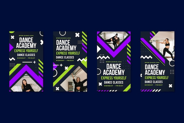 Modelo de histórias do instagram para academia de dança
