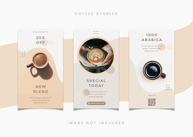 Modelo de histórias do instagram para tema de café
