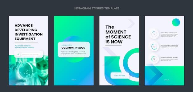 Modelo de histórias instagram de ciência de design plano