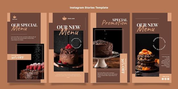 Modelo de histórias instagram de comida de design plano