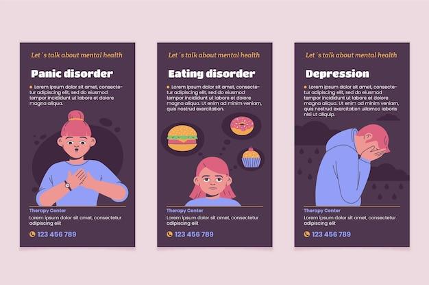 Modelo de histórias instagram de saúde mental plana