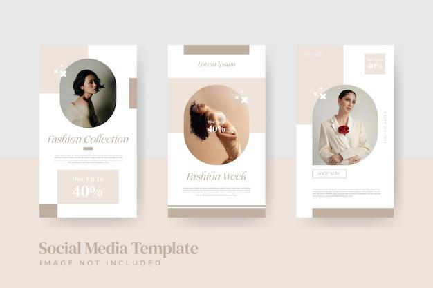 Modelo de histórias instagram de venda de moda mínima