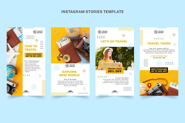Modelo de histórias instagram de viagens planas