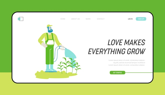 Modelo de hobby de jardinagem orgânica ou página inicial de trabalho sazonal