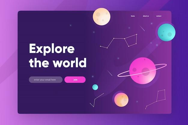 Modelo de homepage com fundo de espaço