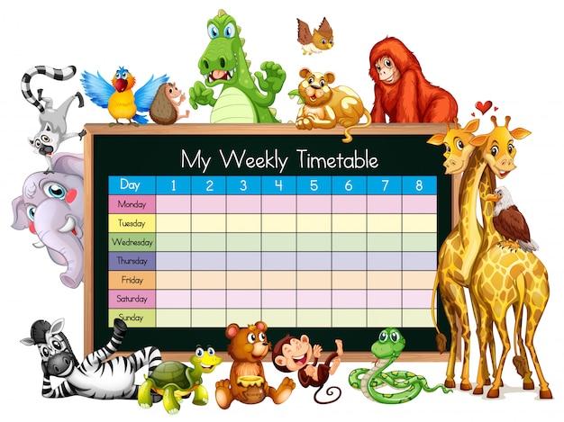 Modelo de horário com muitos animais