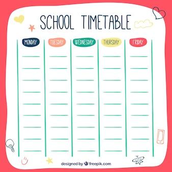Modelo de horário da escola desenhado a mão