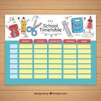 Modelo de horário escolar com elementos escolares