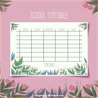 Modelo de horário escolar floral cor-de-rosa