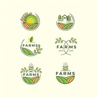 Modelo de ícone de conjunto de logotipo de fazenda